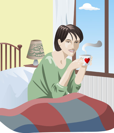 day bed: Vector illustration: young pretty woman in bed with a cup in her hands is happy for the nice new day