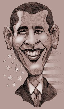 obama: A pencil-drawn monochrome caricature of the President of United States, Barack Obama