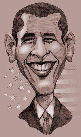 Een potlood getrokken monochroom karikatuur van de president van de Verenigde Staten, Barack Obama Redactioneel