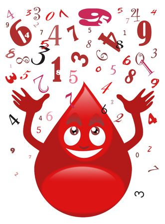 donating: Illustration of a smiling blood drop catching a series of numbers - Cartoon style - White background
