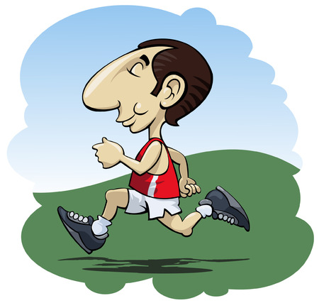 footing: Illustration of a happy man running in the sunshine - Cartoon style