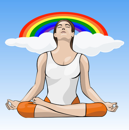 equanimity: Computer-made illustration: young woman doing yoga meditation in lotus position Illustration