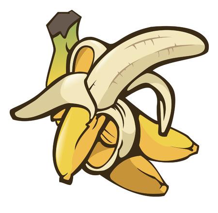 Illustratie van enkele bananen op witte achtergrond - Isolated object