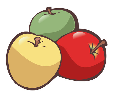 Illustration of three apples (one yellow, one green and one red) on white background - Isolated object Stock Vector - 4962051