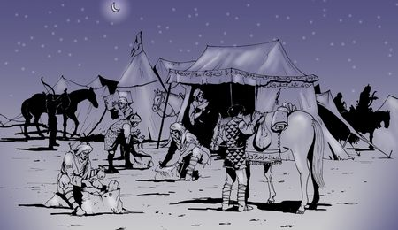 berber: Hand-made illustration: in the Berber camp some warriors preparing for a long travel in the desert at night. Stock Photo