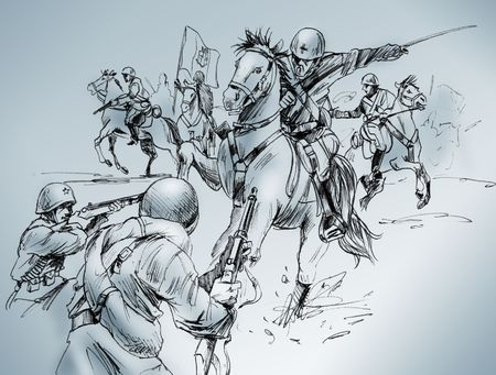 cavalry: Hand-made drawing of a scene of the battle of Isbuscenskij, which took place in 1942 between Russian army and Italian cavalry, who won the fight. Stock Photo