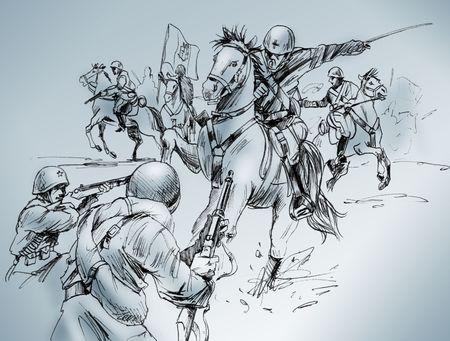 Hand-made tekening van een scène van de slag van Isbuscenskij, die plaatsvond in 1942 tussen het Russische leger en de Italiaanse cavalerie, die won de strijd.