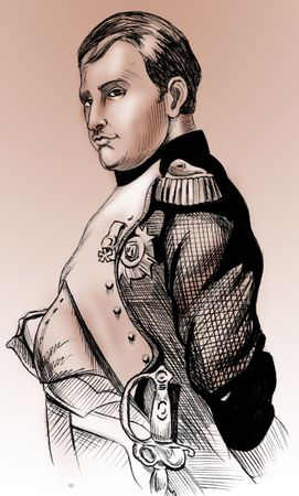 conqueror: Hand-made illustration: portrait of French Emperor, Napoleon