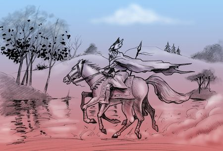 eight legs: Hand-made drawing: god Odin rides his eight legs horse, Sleipnir.  Stock Photo