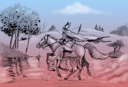 Hand-made tekening: god Odin ritten zijn acht poten paard Sleipnir.