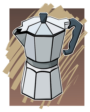 flavoring: Colorful illustration of a coffee pot - Brown background