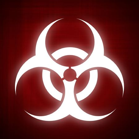 contagious: Computer-made illustration of the biohazard symbol - Red background Stock Photo