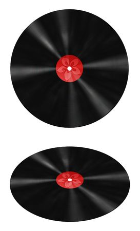 Computer generated illustration of a vinyl record with a red label and a Hawaiian flower in the middle. Frontal and perspective illustration
