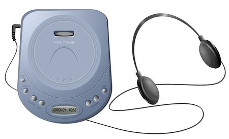 Computer-generated illustration: blue portable CD player with headphones. Isolated object on white background illustration