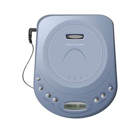 Computer-generated illustration: blue portable CD player. Isolated object on white background Stock Illustration - 5176901