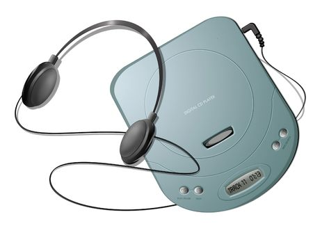 Computer-generated illustration: green portable CD player with headphones. Isolated object on white background illustration