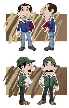 Cartoon illustratie. Twee verkopers van verschillende opvattingen: voor-en zijkant, met verschillende kleuren kleding