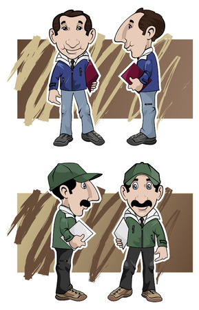 represent: Cartoon illustration. Two salesmen by different views: front and side, with different clothing colors