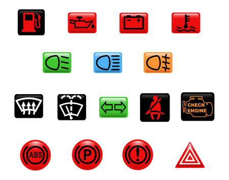 windshield: Computer generated illustration. Set of icons: car warning lights