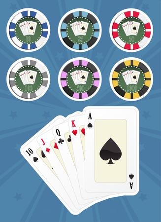 Computer gegenereerde illustratie: stel poker kaarten en chips