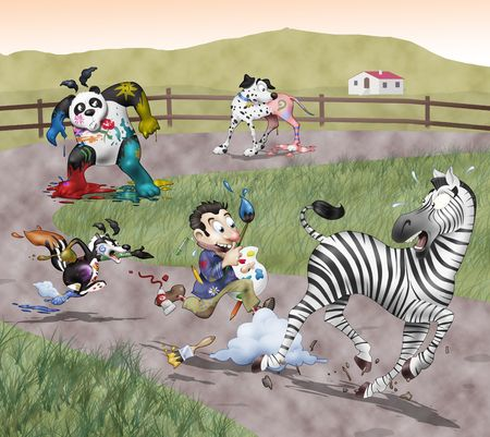 Funny illustration. A mad painter is chasing a scared zebra: hes trying to color every black and white animal on the Earth. On the background there are his victims: a Dalmatian dog, a panda bear and a furious skunk illustration
