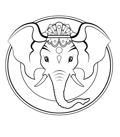 divinity: Black and white illustration - Logo of Hindu divinity Ganesh