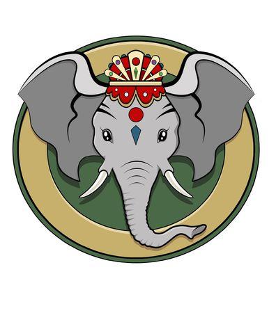 ganesh: Ilustraci�n colorido - divinidad logo de hind� Ganesh