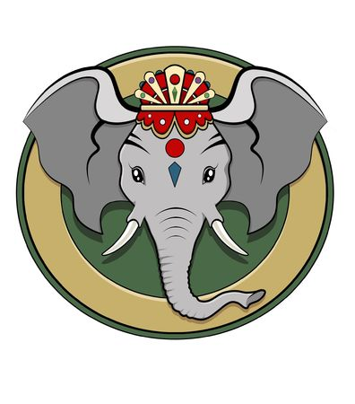 Kleurrijke illustratie - logo van hindoe-divinity Ganesh Stockfoto
