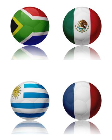 Soccer world championship 2010 - South Africa Four soccer balls representing the national teams of the Group A. Top left:South Africa - Top right:Mexico - Bottom left:Uruguay - Bottom right:France photo