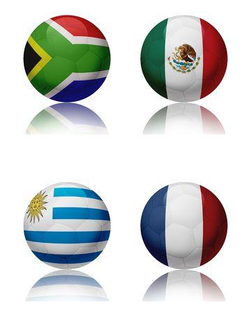 Voet bal WK 2010 - Zuid-Afrika Vier voet ballen, die de nationale teams van de groep A. Top links: Zuid-Afrika - top recht: Mexico - bottom links: Uruguay - bottom-rechts: Frankrijk