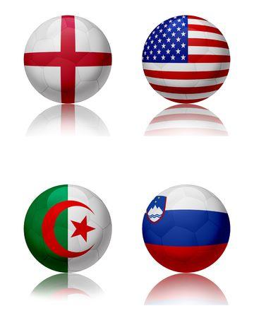 Voet bal WK 2010 - Zuid AfricaFour voet ballen die de nationale teams van de groep C. Top links: Engeland - top recht: United States - bottom links: Algerije - bottom-rechts: Slovenië