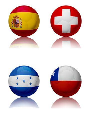 Wereldkampioenschap voet bal 2010 - Zuid-AfricaFour voet ballen vertegenwoordigen de nationale teams van de fractie H. boven links: Spanje - top recht: Zwitserland - onder links: Honduras - onder rechts: Chili