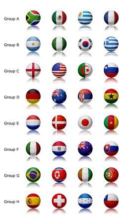 Wereldkampioenschap voet bal 2010 - Zuid-Afrika 32 voet ballen vertegenwoordigen de nationale teams Stockfoto