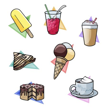 Computer-made illustration: set of seven yummy sweet delicacies. From top-left:  crushed ice drink - milkshake - french crepe - ice cream - cake - hot chocolate illustration