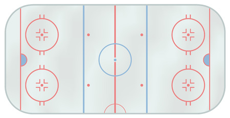 Computer generated illustration of an ice hockey rink. Above view Illustration