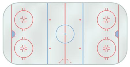 hockey sobre hielo: Ilustraci�n de una pista de hockey sobre hielo generados por ordenador. Por encima de la vista  Vectores