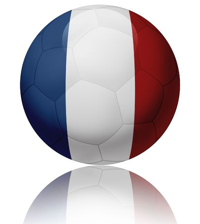 Texture of France flag on glossy soccer ball  photo