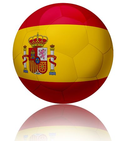 spain championship: Texture of Spain flag on glossy soccer ball