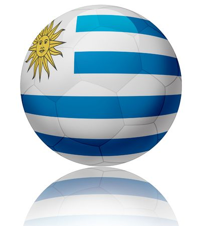 Texture of Uruguay flag on glossy soccer ball  photo