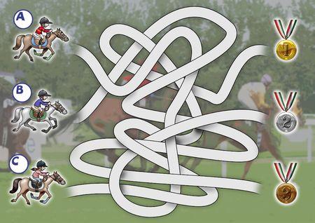 Illustratie-game: Ontdek welke rider gouden medaille wint. Grappige cartoon stijl