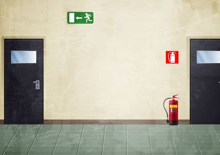 Illustratie van een gedeelte van een corridor. Er zijn: twee deuren, een exit-teken en een brand extinguisher.I heb het gekleurd met een grunge stijl