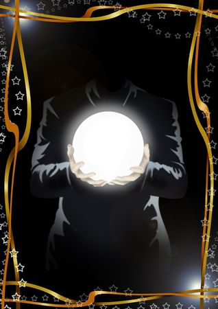 Illustration of a man (the face isn't visible) in the dark, holding a globe of light. Frame of golden ribbons and stars Stock Illustration - 6782796