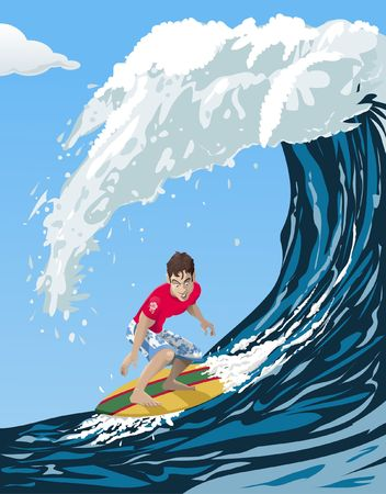 Computer-made illustration of a cool surfer riding a big ocean wave - Cartoon style Stock Photo