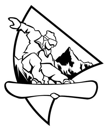 freeride: Ilustraci�n de generados por computadora de blanco y negro: saltar snowboarder sobre un fondo de monta�a - logo estilo