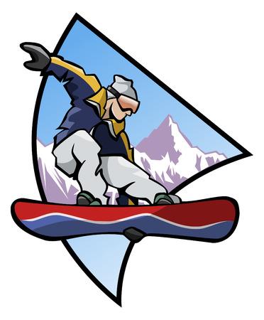 freeride: Ilustraci�n de generados por ordenador: saltar snowboarder a un estilo de fondo-logo de monta�a