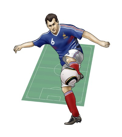 playoff: South Africa World Cup of soccer 2010; - Group A - Team France; Realistic illustration of a soccer player wearing his national team uniform - Soccer pitch on the background Stock Photo