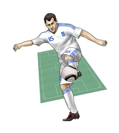 South Africa World Cup of soccer 2010  - Group B - Team GreeceRealistic illustration of a soccer player wearing his national team uniform - Soccer pitch on the background Stock Illustration - 6895770