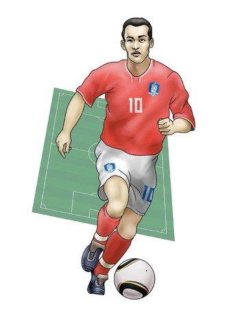 playoff: South Africa World Cup of soccer 2010  - Group B - Team Soutj KoreaRealistic illustration of a soccer player wearing his national team uniform - Soccer pitch on the background