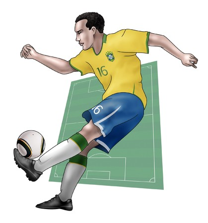 South Africa World Cup of soccer 2010  - Group G - Team BrazilRealistic illustration of a soccer player wearing his national team uniform - Soccer pitch on the background illustration