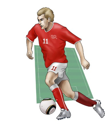 South Africa World Cup of soccer 2010  - Group H - Team SwitzerlandRealistic illustration of a soccer player wearing his national team uniform - Soccer pitch on the background Stock Illustration - 6895765